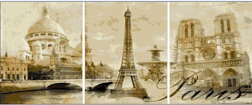Триптих. Париж, 50х150см