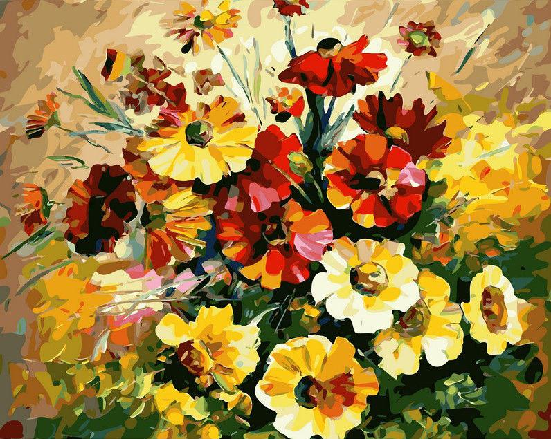 Букет ярких цветов, 40х50см