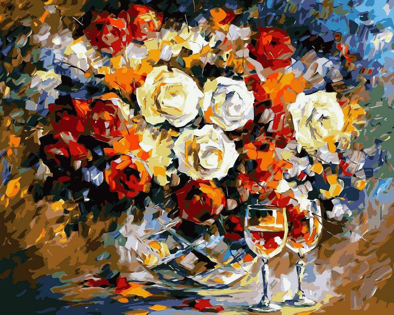 Розы и вино, 40х50см
