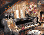Музыкальный вечер у камина, 40х50см