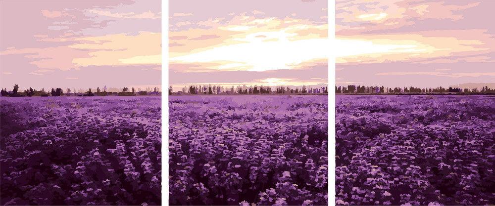 Триптих. Лавандовое поле, 50х150см