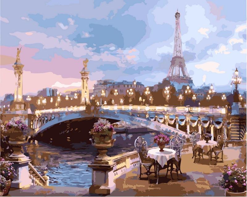 Романтика вечернего Парижа, 40х50см