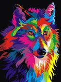 Радужный волк, 30х40см