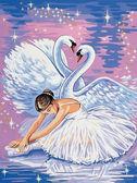 Лебеди и балерина, 30х40см