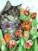 Котик в тюльпанах, 30х40см