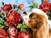Кокер спаниэль и розы, 30х40см