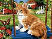 Рыжий котик на качели, 30х40см
