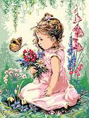Девочка и бабочка, 30х40см