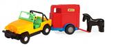 Игрушечная машинка авто-джип с прицепом и лошадкой, Wader, желтый джип и синий прицеп и лошадка от Wader