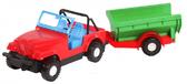 Игрушечная машинка авто-джип с прицепом, Wader, красный джип зеленый прицеп от Wader