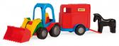 Игрушечная машинка трактор-багги с прицепом и лошадкой, Wader, прицеп с лошадкой от Wader