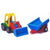 Игрушечная машинка трактор-багги с прицепом, Wader, синий прицеп от Wader