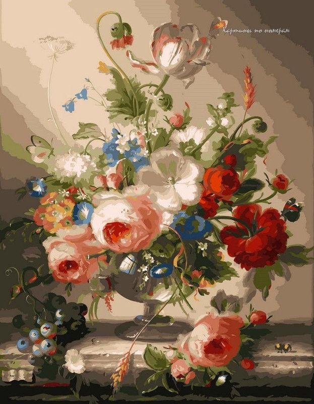 Цветочный натюрморт с виноградом,40 х 50 см