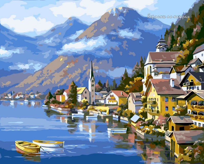 Альпийская деревня,40 х 50 см