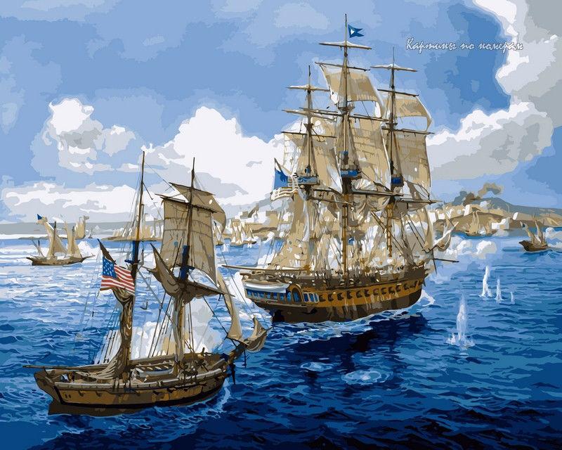 Морское сражение,40 х 50 см
