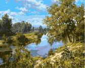 Пейзаж с рекой,40 х 50 см