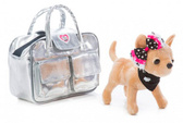 Собачка CCL Чихуахуа Серебристый гламур, с сумочкой и заколкой для девочки, 20 см, Chi Chi Love от Chi Chi Love