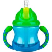 Поильник с трубочкой-непроливайкой , сине-зеленый
