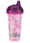 Термопоильник CLICK-IT с твердым носиком, фиолетовый с цветами, 270 мл., Nuby, фиолетовая, цветочки