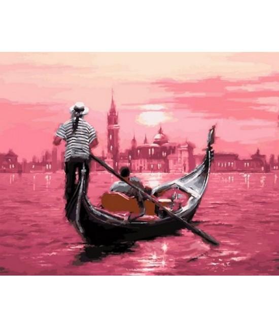 Розовый закат Венеции  40 х 50 см
