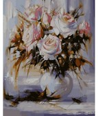 Белые розы  40 х 50 см