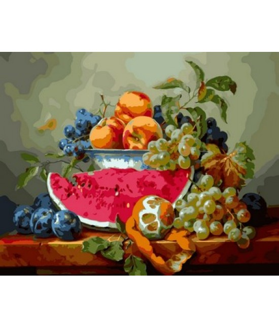Натюрморт с арбузом и виноградом 40 х 50 см
