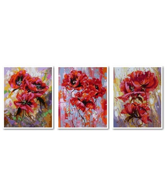 Триптих Маковый цвет 120 х 50 см