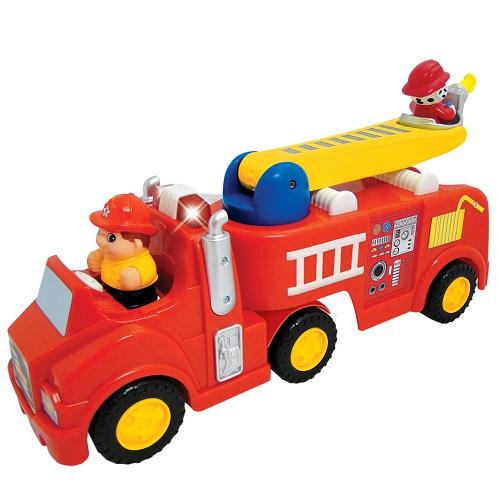 Развивающая игрушка - ПОЖАРНАЯ МАШИНА (механическая, свет, звук)