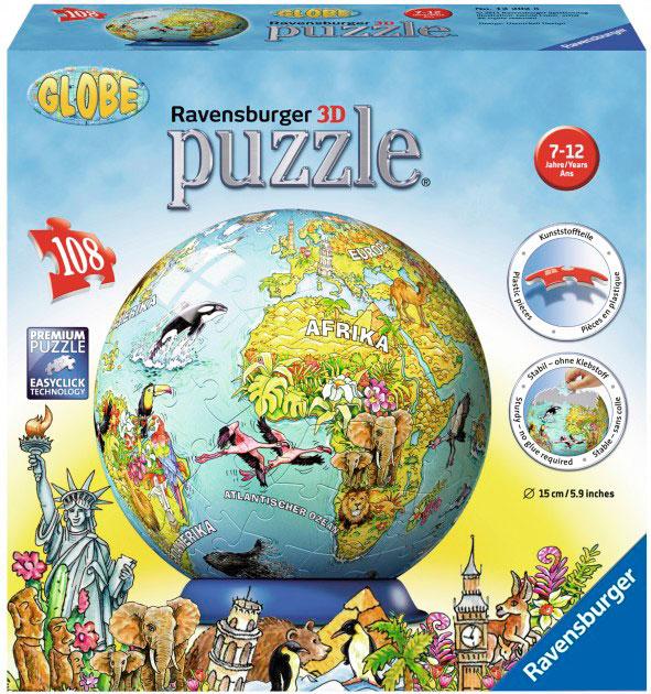 Пазл 3D Шар Детский иллюстрированный глобус 108 эл., Ravensburger