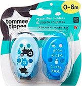 Цепочки для пустышки, синие с трактором, 2 штуки, Tommee Tippee, голуб.с тракт. и синяя от Tommee Tippee(Томми Типпи)