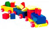 Паравоз цветной, 2 вагона с кубиками, Bino от BINO(Бино)