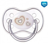Пустышка Newborn baby силиконовая симметричная, белая с сердечком, 18 мес, Canpol babies, белая от Canpol babies