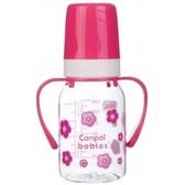 Тритановая бутылочка 120 мл с ручками (розовый), Canpol babies, розовый, цветочки от Canpol babies
