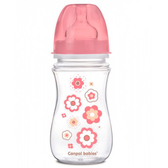 Антиколиковая бутылочка с широким горлышком EasyStart Newborn baby 240 мл (цветочки), Canpol babies, розовый, цветочки от Canpol babies