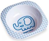 Тарелка из меламина глубокая, квадратная, с голубым слоником, Canpol babies, голубая, слоник от Canpol babies