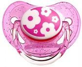 Пустышка Nature силиконовая круглая, розовая с цветочками, 0-6 мес, Canpol babies, розовая от Canpol babies