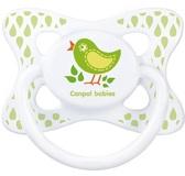 Пустышка Каникулы, силиконовая симметричная, с птичкой, 6-18 мес, Canpol babies, зеленая птичка от Canpol babies