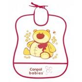 Мягкий пластиковый слюнявчик, бело-красный с мишкой, Canpol babies, малиновый от Canpol babies