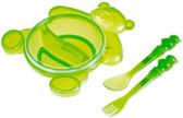 Тарелка Медвежонок с вилкой и ложкой зеленая - набор, Canpol babies, зеленая, мишки от Canpol babies