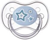 Пустышка Newborn baby силиконовая круглая, голубая с звездочками, 18 мес, Canpol babies, голубая с звездочками от Canpol babies