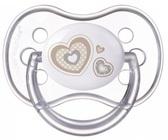 Пустышка Newborn baby силиконовая круглая, с сердечками, 6-18 мес, Canpol babies, белая з сердечками от Canpol babies