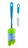 Ершик с двумя щеточками и губкой для мытья бутылочек и сосок Чистота (голубая ручка), Canpol babies, голубой от Canpol babies