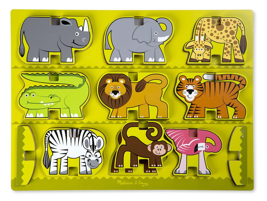 Деревянная головоломка-вкладыш Сафари Stacking Wooden Chunky Puzzle - Zoo Animals, Melissa & Doug