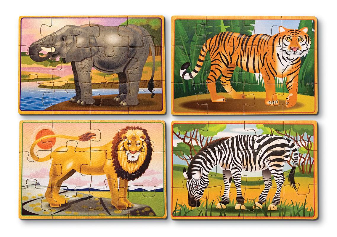Дикие животные - набор из 4 пазлов Wild Animals, Melissa & Doug