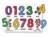 Деревянная рамка-вкладыш Цифры See-Inside Numbers Peg Puzzle. Melissa & Doug