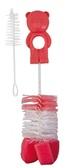 Ершик с двумя щеточками и губкой для бутылочек и сосок Мишутка, розовый, Canpol babies, розовый от Canpol babies