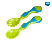 Набор столовых приборов (ложка, вилка), пластиковые, салатово-бирюзовый, Canpol babies, салат.-бирюза от Canpol babies