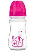 Антиколиковая бутылочка EasyStart Цветные зверюшки (малиновая крышка), 240 мл, Canpol babies, малиновый от Canpol babies