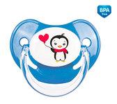 Пустышка латексная анатомическая, 6-18 м+, Пингвин, синяя, Canpol babies, синий от Canpol babies