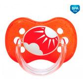 Пустышка Nature силиконовая симметричная, красная с солнышком, 6-18 мес, Canpol babies, красная от Canpol babies